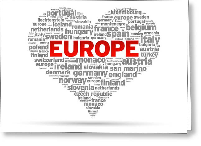 Continent Greeting Cards - I Love Europe Greeting Card by Aged Pixel