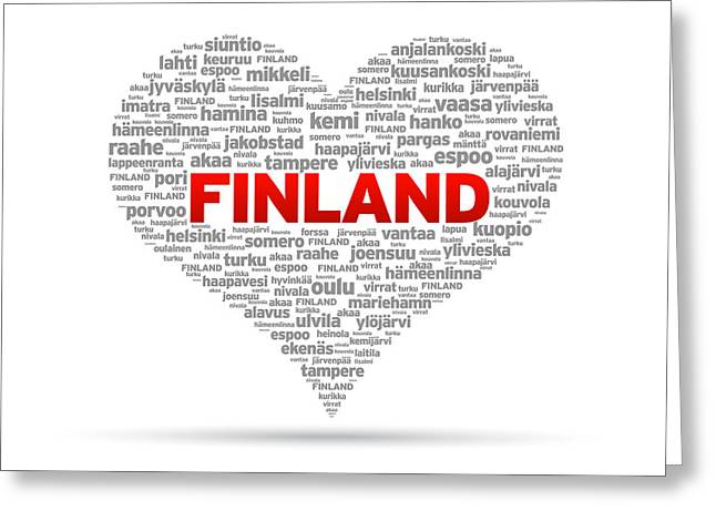 Europe Drawings Greeting Cards - I Love Finland Greeting Card by Aged Pixel