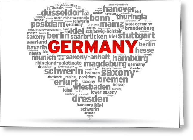 Germany Greeting Cards - I Love Germany Greeting Card by Aged Pixel