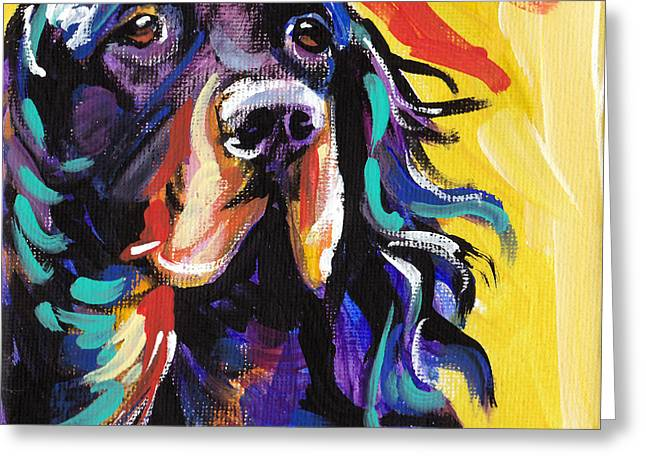 Gordon Setter Puppy Greeting Cards - I Love Gordon Greeting Card by Lea