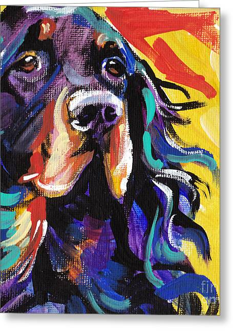 Dog Portraits Greeting Cards - I Love Gordon Greeting Card by Lea