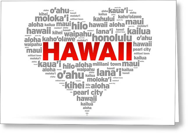 ; Maui Drawings Greeting Cards - I Love Hawaii Greeting Card by Aged Pixel