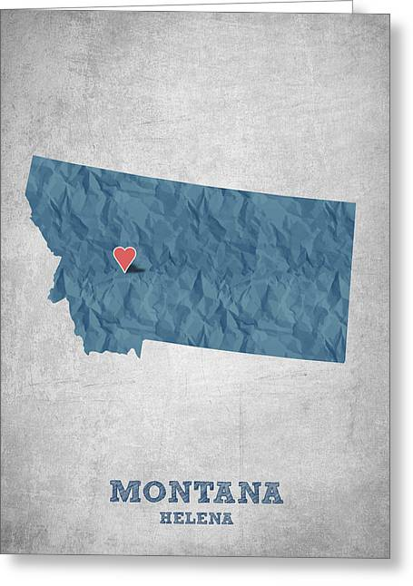 Montana State Map Greeting Cards - I love Helena Montana - Blue Greeting Card by Aged Pixel