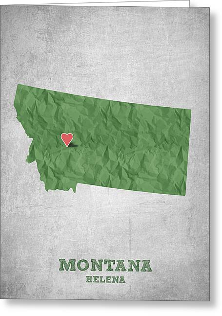 Montana State Map Greeting Cards - I love Helena Montana - Green Greeting Card by Aged Pixel