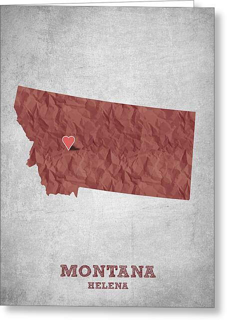 Montana State Map Greeting Cards - I love Helena Montana - Red Greeting Card by Aged Pixel