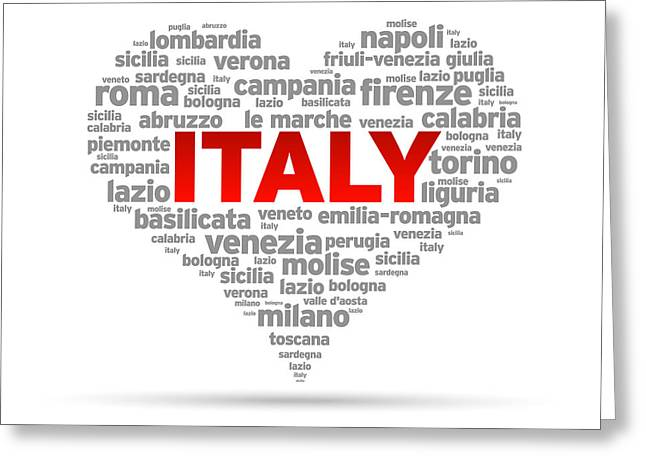 Countries Drawings Greeting Cards - I Love Italy Greeting Card by Aged Pixel