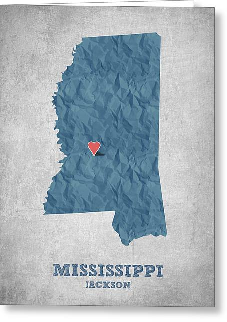 Mississippi Map Greeting Cards - I love Jackson Mississippi - Blue Greeting Card by Aged Pixel