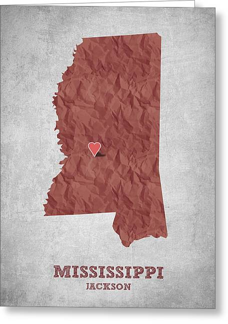 Mississippi Map Greeting Cards - I love Jackson Mississippi - Red Greeting Card by Aged Pixel