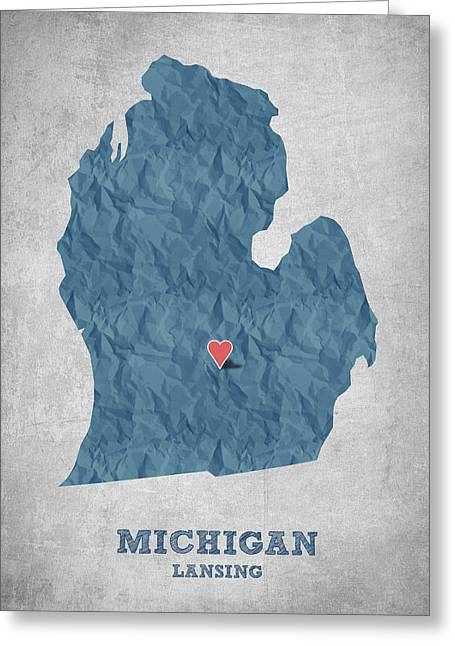 Geography Greeting Cards - I love Lansing Michigan - Blue Greeting Card by Aged Pixel