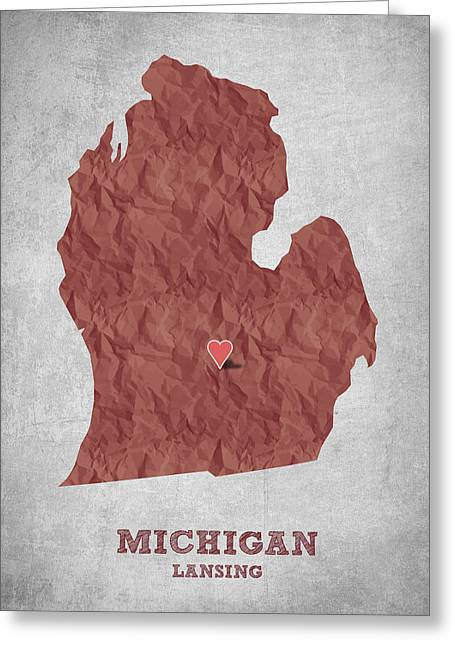 Geography Greeting Cards - I love Lansing Michigan - Red Greeting Card by Aged Pixel