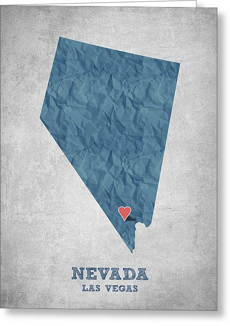Las Vegas Art Greeting Cards - I love Las Vegas Nevada - Blue Greeting Card by Aged Pixel