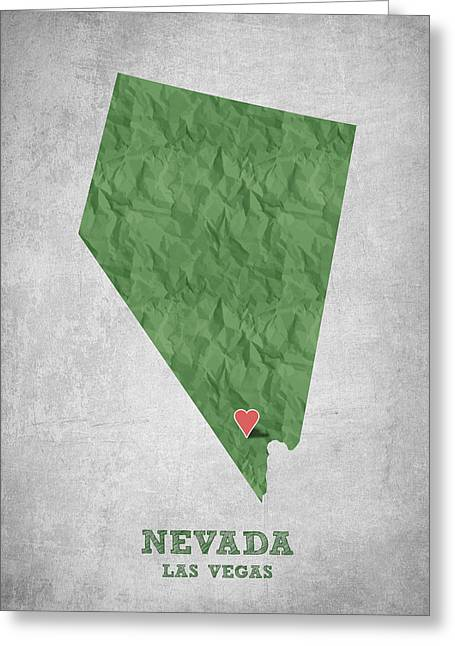 Las Vegas Art Greeting Cards - I love Las Vegas Nevada - Green Greeting Card by Aged Pixel