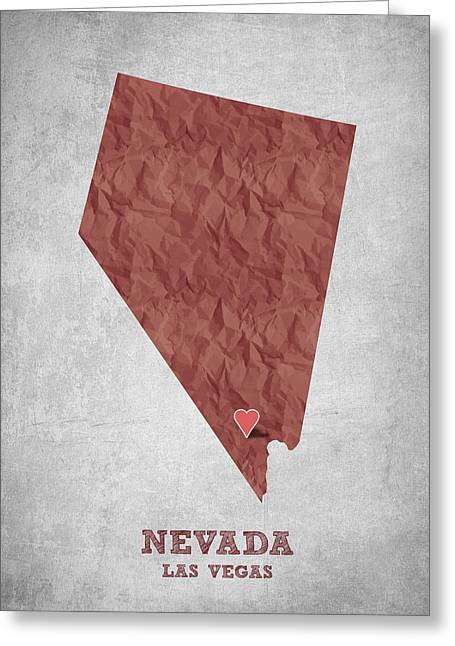 Las Vegas Art Greeting Cards - I love Las Vegas Nevada - Red Greeting Card by Aged Pixel