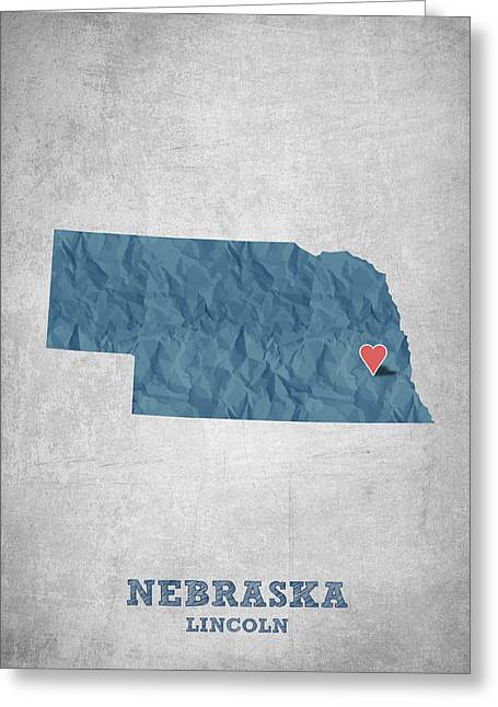 Lincoln City Greeting Cards - I love Lincoln Nebraska - Blue Greeting Card by Aged Pixel