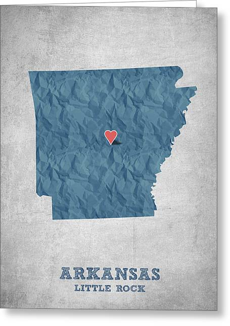 Arkansas State Map Greeting Cards - I love Little Rock Arkansas - Blue Greeting Card by Aged Pixel