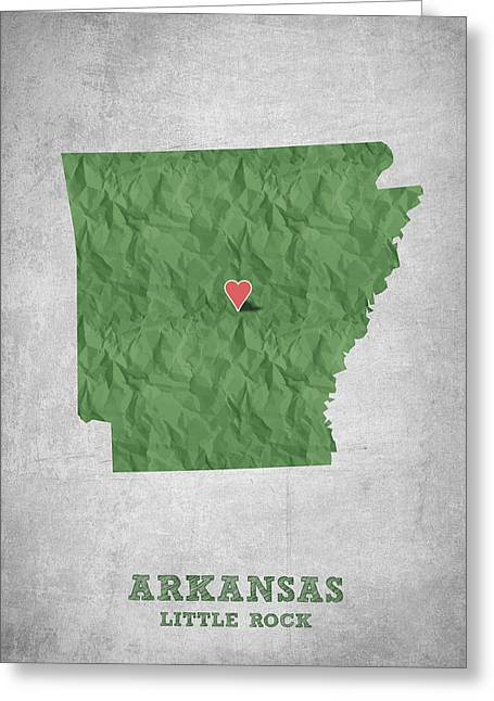 Arkansas State Map Greeting Cards - I love Little Rock Arkansas - Green Greeting Card by Aged Pixel