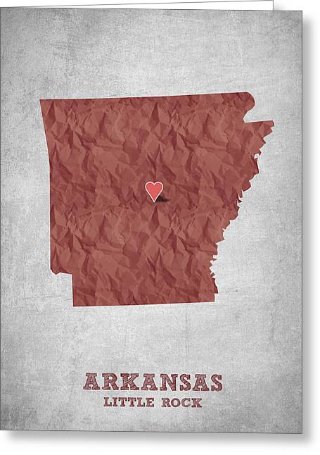 Arkansas State Map Greeting Cards - I love Little Rock Arkansas - Red Greeting Card by Aged Pixel