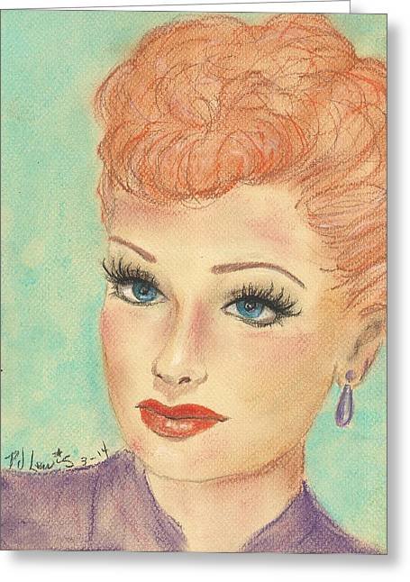 Old Tv Drawings Greeting Cards - I Love Lucy Greeting Card by P J Lewis