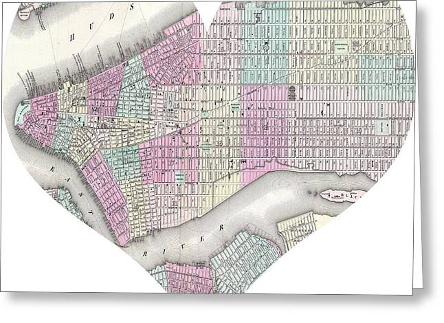 I Love America Greeting Cards - I Love Manhattan Heart Map Greeting Card by Nomad Art And  Design