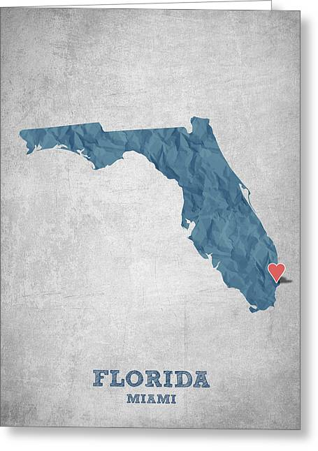Geography Greeting Cards - I love Miami Florida - Blue Greeting Card by Aged Pixel