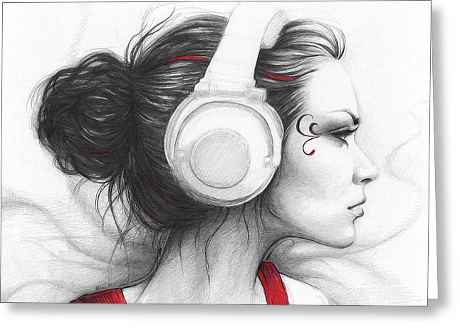 Graphite Art Drawings Greeting Cards - I Love Music Greeting Card by Olga Shvartsur