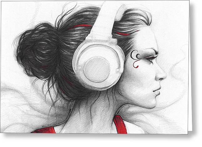 Graphite Greeting Cards - I Love Music Greeting Card by Olga Shvartsur