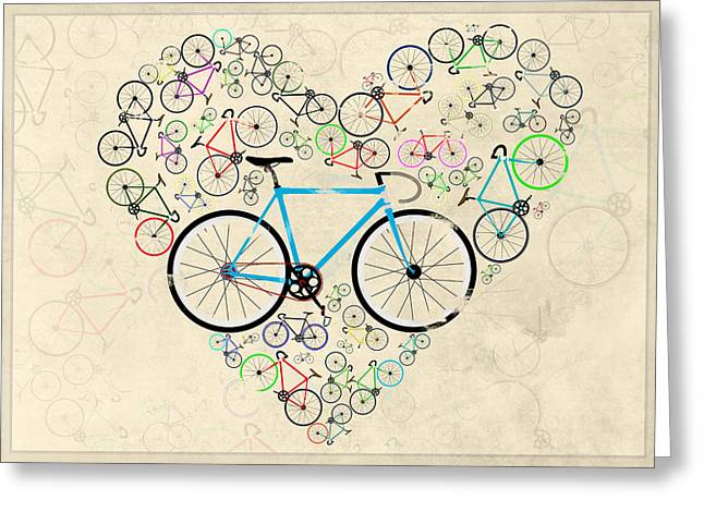 I Love My Bike Greeting Card by Andy Scullion