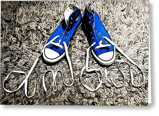 Sneaker Lace Greeting Cards - I love my blue suede tennis shoes Greeting Card by Georgina Noronha