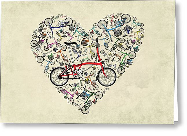 Team Greeting Cards - I Love My Brompton Greeting Card by Andy Scullion