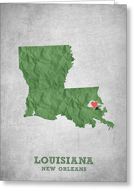 State Of Mississippi Greeting Cards - I love New Orleans Louisiana - Green Greeting Card by Aged Pixel