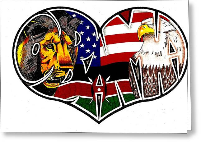 Commander In Chief Drawings Greeting Cards - I Love Obama The President With Kenyan Roots Greeting Card by Alexis Heath