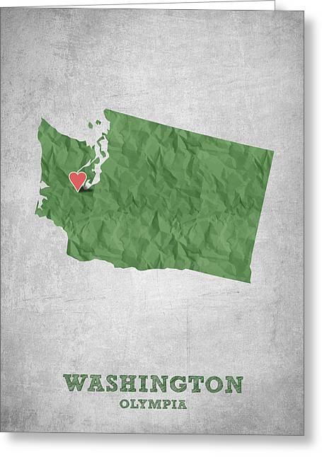 Olympia Greeting Cards - I love Olympia Washington- Green Greeting Card by Aged Pixel