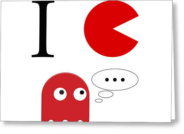 Packman Greeting Cards - I love packman Greeting Card by Gina Dsgn