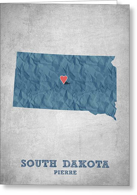 South Dakota Map Greeting Cards - I love Pierre South Dakota - Blue Greeting Card by Aged Pixel