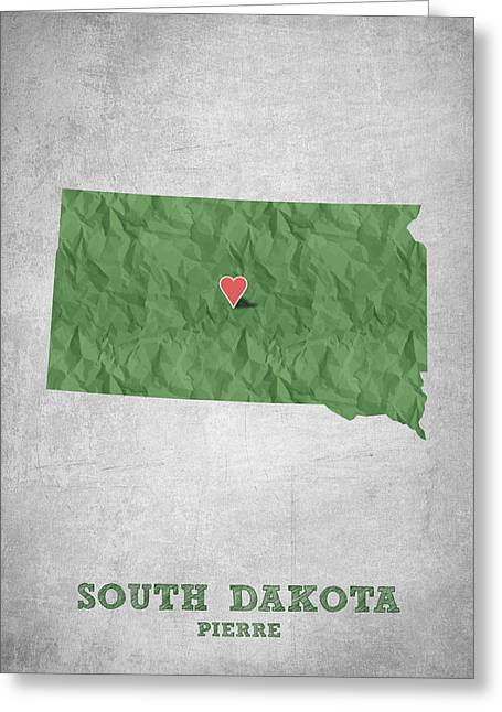 South Dakota Map Greeting Cards - I love Pierre South Dakota - Green Greeting Card by Aged Pixel