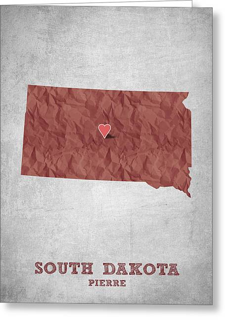South Dakota Map Greeting Cards - I love Pierre South Dakota - Red Greeting Card by Aged Pixel