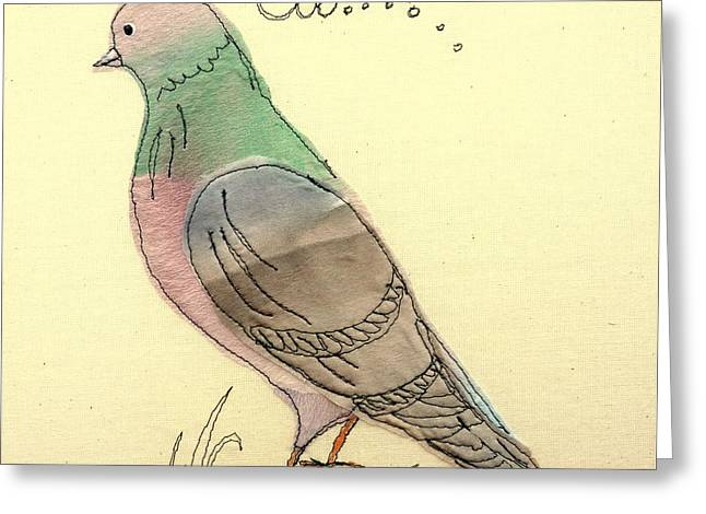 Flying Bird Tapestries - Textiles Greeting Cards - Pigeon fancier Greeting Card by Hazel Millington