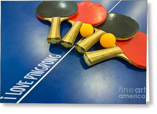 Table Tennis Racket Greeting Cards - I Love Ping-pong Bats Table Tennis Paddles Rackets on Blue Greeting Card by Beverly Claire Kaiya