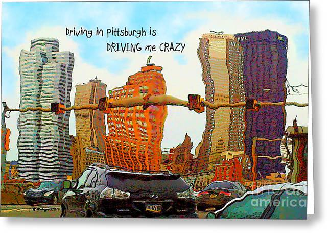 Texting Greeting Cards - I Love Pittsburgh - Comical Text Daily Drive Downtown View - Ink Filter Greeting Card by Shelly Weingart
