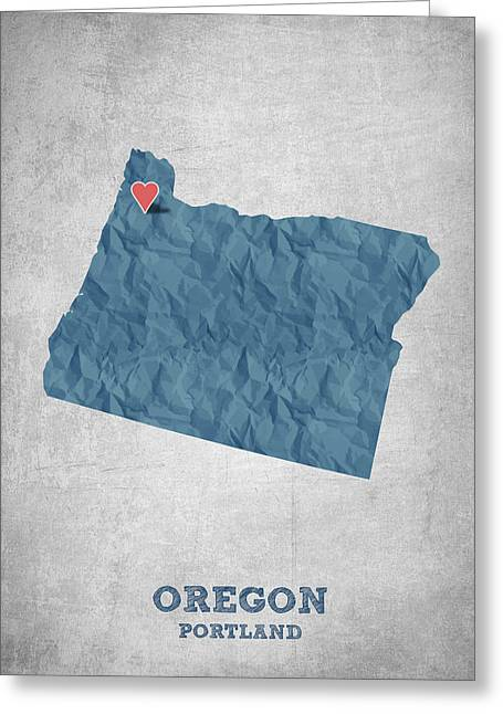 Oregon State Greeting Cards - I love Portland Oregon- Blue Greeting Card by Aged Pixel