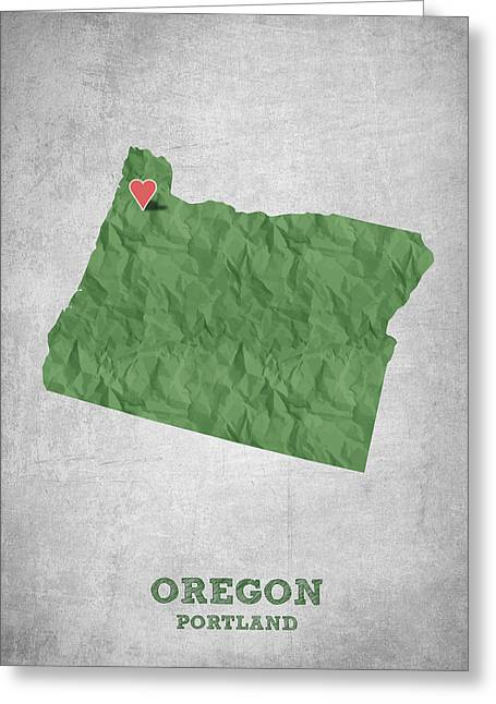 Oregon State Greeting Cards - I love Portland Oregon- Green Greeting Card by Aged Pixel