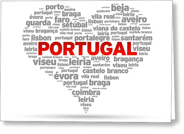 Portugal Greeting Cards - I Love Portugal Greeting Card by Aged Pixel