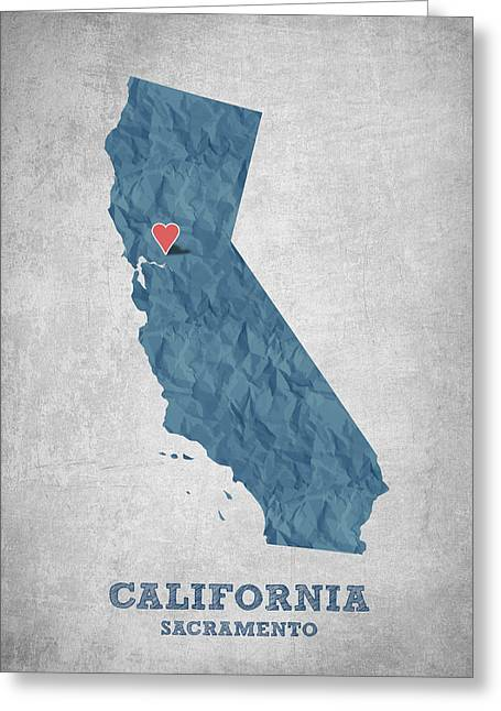 Sacramento Greeting Cards - I love Sacramento California - Blue Greeting Card by Aged Pixel