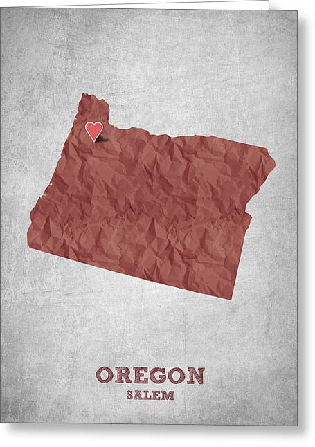 Oregon State Greeting Cards - I love Salem Oregon- Red Greeting Card by Aged Pixel