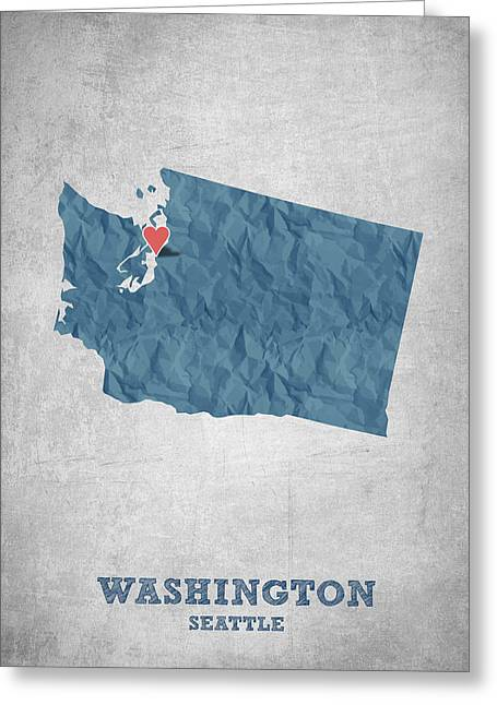 Geography Greeting Cards - I love Seattle Washington- Blue Greeting Card by Aged Pixel