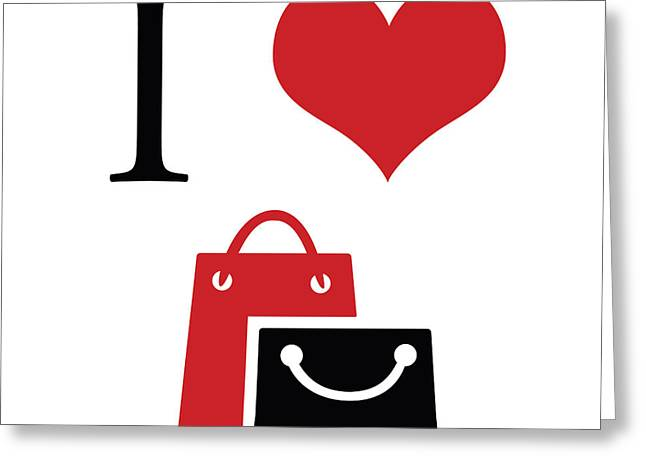 Shopping Bag Greeting Cards - I love shopping Greeting Card by Gina Dsgn