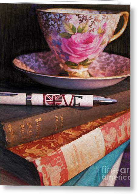 Gilt Cup Greeting Cards - I love tea Greeting Card by Gillian Singleton