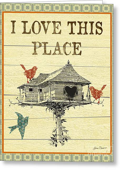 Coop Greeting Cards - I Love This Place Greeting Card by Jean Plout