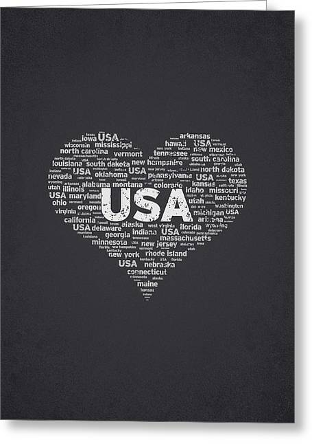 Pennsylvania Mixed Media Greeting Cards - I Love USA Greeting Card by Aged Pixel