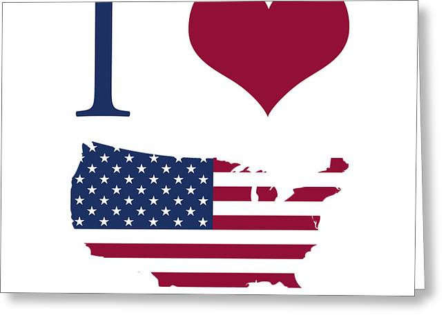 I Love America Greeting Cards - I love USA Greeting Card by Gina Dsgn